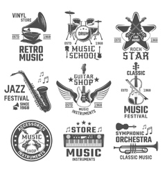 Music Black White Emblems vector image vector image