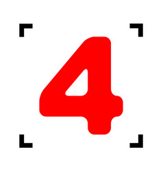 Number 4 sign design template element red vector