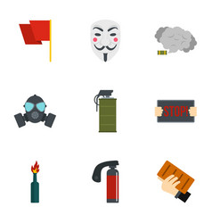 Protestation icon set flat style vector