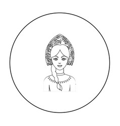 Russian woman in traditional suit icon in outline vector