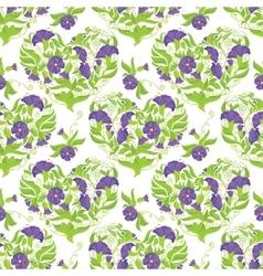 Seamless pattern - convolvulus flowers hearts on vector