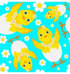 Seamless pattern with chicks eggs and daisies vector