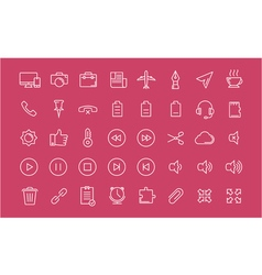 Set flat line icons mobile design vector