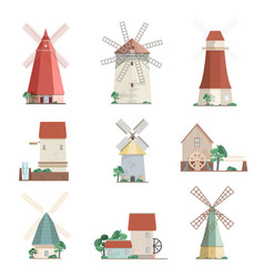 Set of colorful windmills and watermills of vector