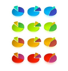 Set of different pie chart vector