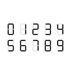Set of digital number signs made up from seven vector image