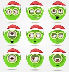 Set of funny green santas elfs smiles in goggle vector