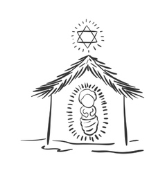 Silhouette christmas portal with baby jesus vector