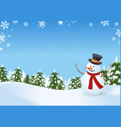 snowman in winter landscape vector image vector image