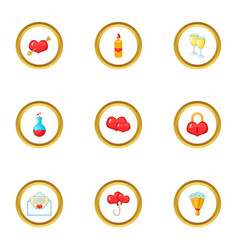 surprise icons set cartoon style vector image