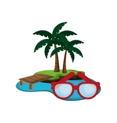 tropical island and glasses icon vector image vector image