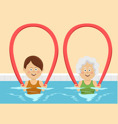 Women using pool noodles in swimming pool vector