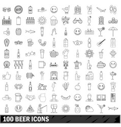100 beer icons set outline style vector