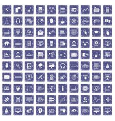 100 on-line seminar icons set grunge sapphire vector