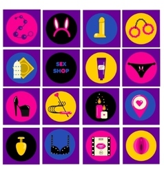 Erotic sex shop symbols adult games and toys vector