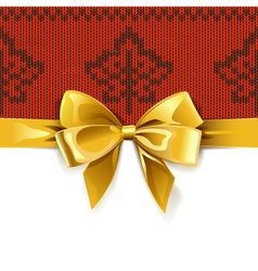 Gift bow with autumn knitted pattern 1 vector