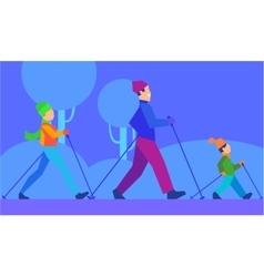 Ski with family concept in flat design vector