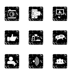 Communication via internet icons set grunge style vector image