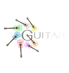 Set of colorful classical guitars vector