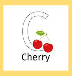 Cherry and letter c coloring page vector