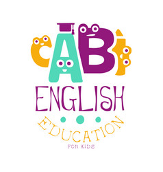 English education for kids logo symbol colorful vector