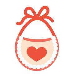 Baby bib with red heart vector