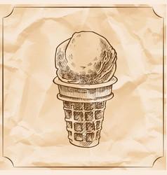 Retro delicious ice cream cone hand drawn vector