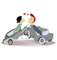 Road accident and love couples vector