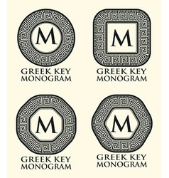 Greek key ornament monogram set vector