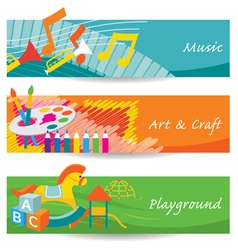 Music art playground for kindergarten banner vector
