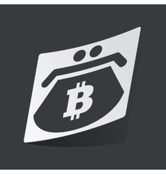 Monochrome bitcoin purse sticker vector