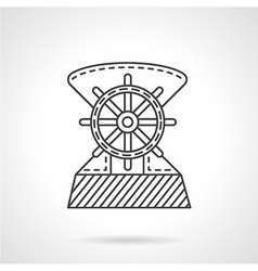 Flat line ship helm icon vector