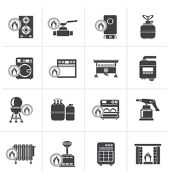 Black household gas appliances icons vector