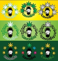 Happy relaxed rastafarian guy smoking marijuana vector