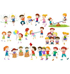 Children playing different games and activities vector