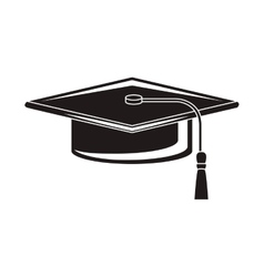 black silhouette of graduation cap vector image vector image