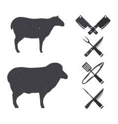 Black silhouettes of a sheep and a ram vector