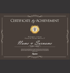 certificate or diploma retro design template 1 vector image vector image