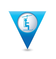 chair lift icon on blue triangular map pointer vector image vector image