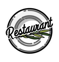 Color vintage restaurant emblem vector