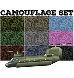 Comouflage set with military theme vector