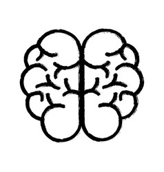 Contour mental health smart brain icon vector