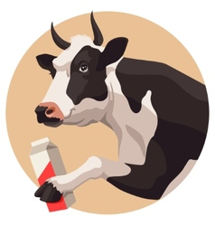 Cow and milk vector image vector image