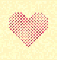 Cross-stitched heart vector