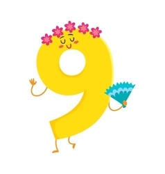 Cute and funny colorful 9 number characters vector