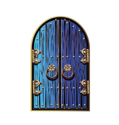 Door with a golden ornament vector