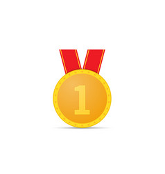 gold medal on white background vector image vector image