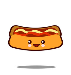 hot-dog cartoon character icon kawaii fast food vector image