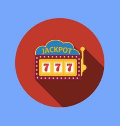 Jackpot on a slot machine flat icon vector