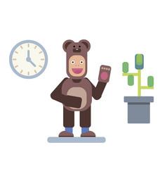 Man in bear pajama vector